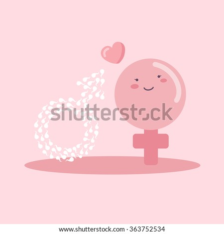 Male and female sex symbol by cartoon ovum and sperm, great for your design - stock vector