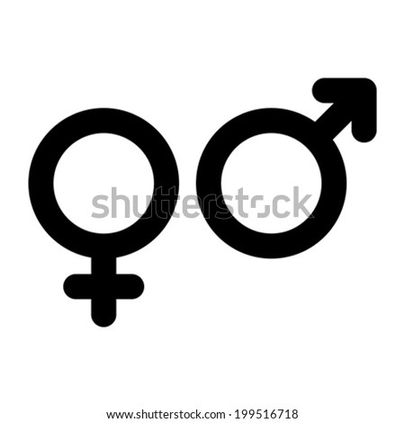 Male and female sign. Gender symbol isolated on white background - stock vector