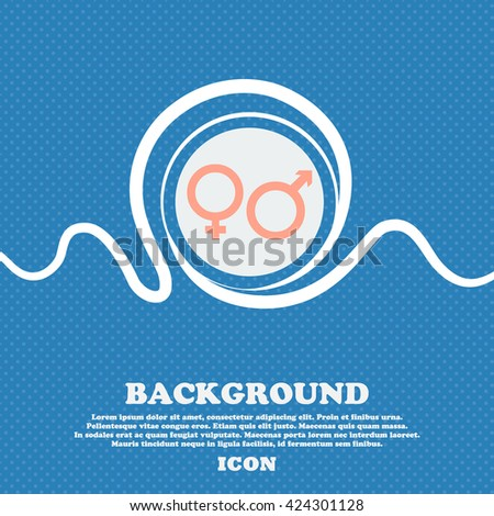 male and female sign icon. Blue and white abstract background flecked with space for text and your design. Vector illustration - stock vector
