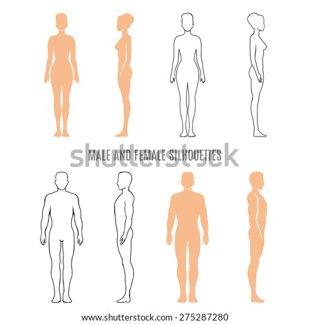 Male and female silhouettes. human man and woman, front, back and side. Vector illustration - stock vector