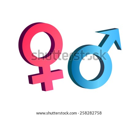 Male and female symbol in 3d vector - stock vector