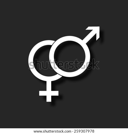 Male and female symbol  - vector icon with shadow - stock vector