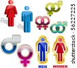 Male and female symbol. Vector set. - stock vector