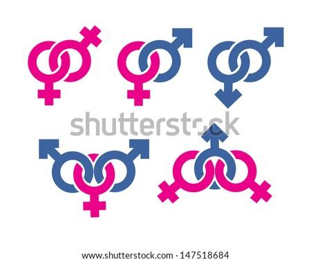 Male and female symbols combination - stock vector