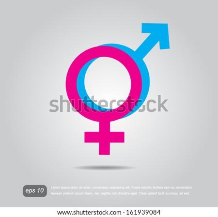 Male and female symbols icon vector - stock vector