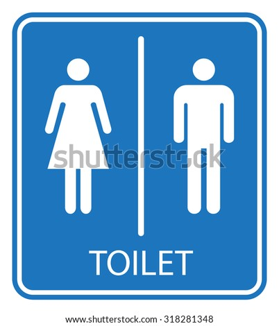 Male and female toilet sign  white isolated on blue background  vector  illustration. Female Toilet Stock Photos  Royalty Free Images   Vectors