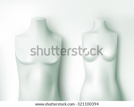 male and female torsos - vector illustration - stock vector