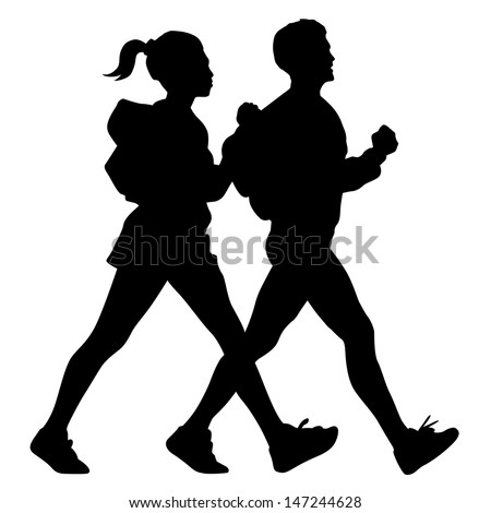male and female walking silhouette  vector - stock vector