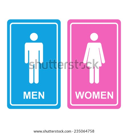 Male and female WC icon denoting toilet and restroom facilities for both men and women with white male and female silhouetted figures on a blue and pink stickers - stock vector
