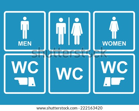 Male and female WC icon on blue denoting toilet and restroom facilities for both men and women