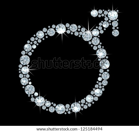 Male astrological symbol Mars made with shiny diamonds