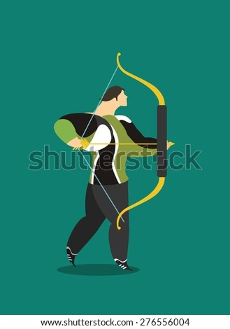 male athlete athlete in sportswear archer takes aim well - stock vector