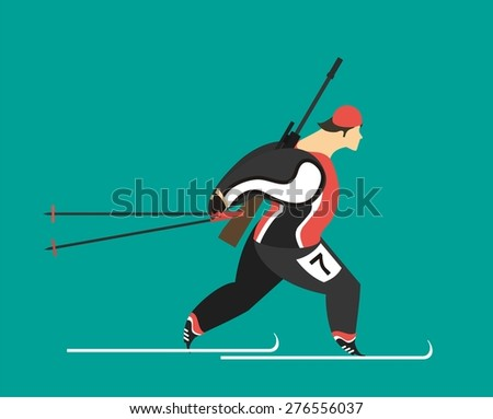 male athlete running biathlon skiing with a rifle on his shoulders on a blue background