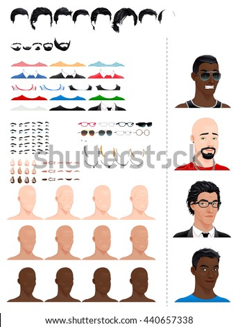 Male avatars, in different ages, head shapes, hairstyles, eyes and accessories.  - stock vector