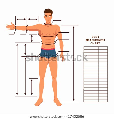 Male Body Measurement Chart Scheme Measurement Vector – Muscle Chart Template