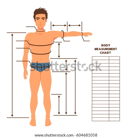 Male Body Measurement Chart Scheme Measurement Stock Vector ...