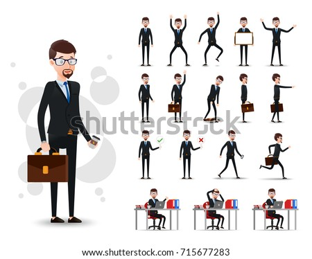male businessman 2d character ready use stock vector 715677283
