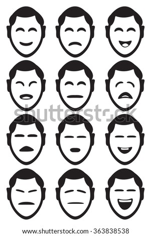 Male cartoon character facial expressions with different shapes of eyes and mouths to depict various feelings and emotions. Set of twelve vector icons isolated on white background. - stock vector