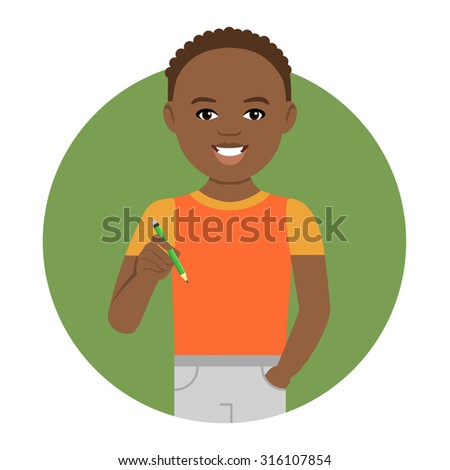Male character, portrait of smiling African American schoolboy holding pencil - stock vector