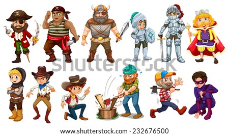 Male characters in different costumes - stock vector