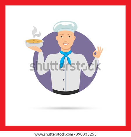 Male chef holding bowl with soup