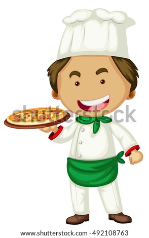 Male chef serving pizza illustration