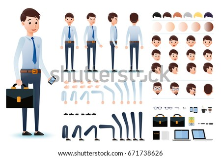 Male Clerk Character Creation Kit Template Stock Vector (2018 ...