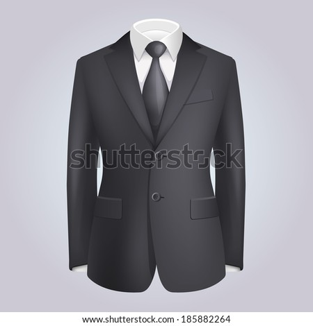 Male Clothing Dark Suit with Tie. Vector - stock vector
