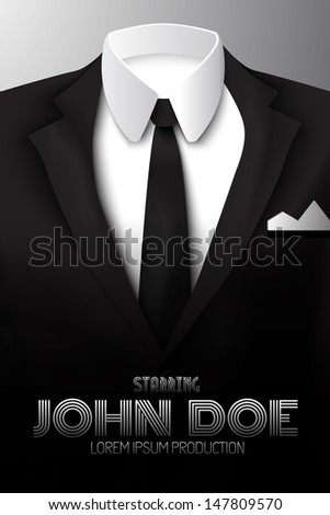 Male clothing suit. Poster. Vector Illustration, eps10, contains transparencies. - stock vector