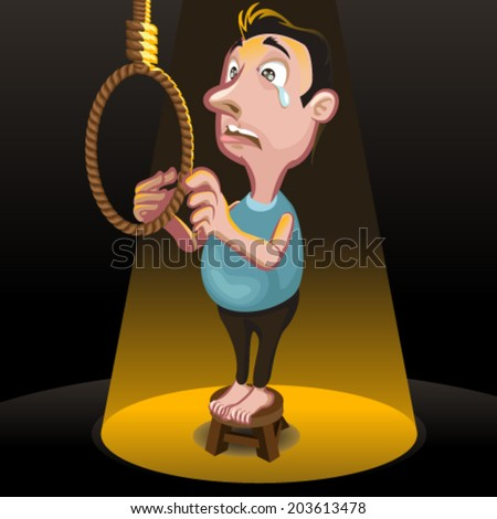 Male committing suicide,  Killing Punishment Hanging - stock vector