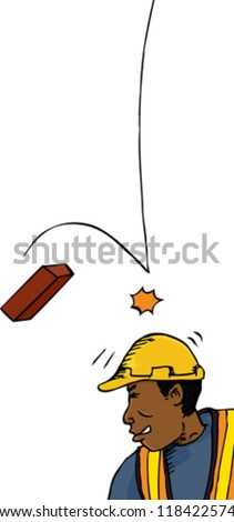 Male construction worker hit on head with brick - stock vector