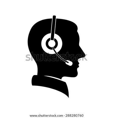 male customer service silhouette icon  - stock vector