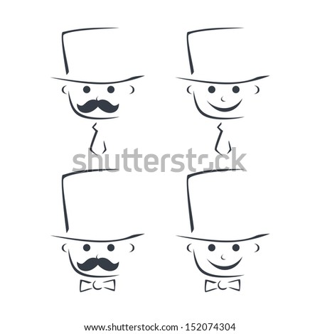 male executive hand drawn caricature set - stock vector