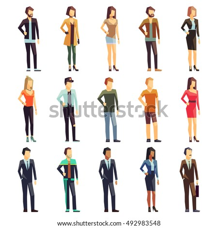male female businessmen businesswomen employee vector people characters various outfits