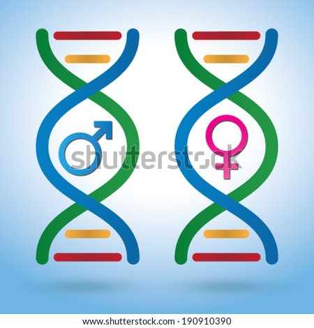 Male Female Sex symbols in DNA depicting various concepts - Vector EPS 10 - stock vector