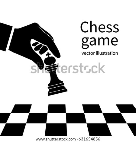 Male Hand Holding Chess Figure Silhouette Stock Vector 631654856 ...