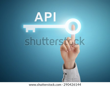 male hand pressing API key button over blue abstract background - stock vector