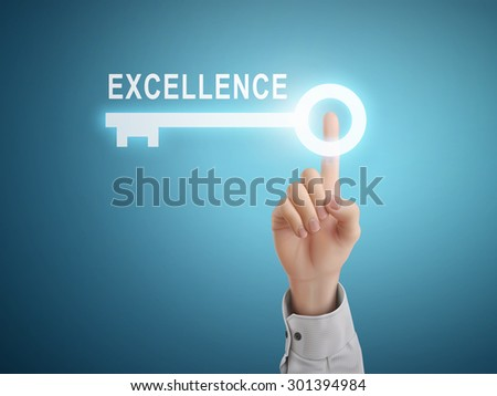 male hand pressing excellence key button over blue abstract background  - stock vector