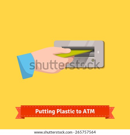 Male hand putting plastic credit card to a ATM machine slot. Flat style vector illustration. - stock vector