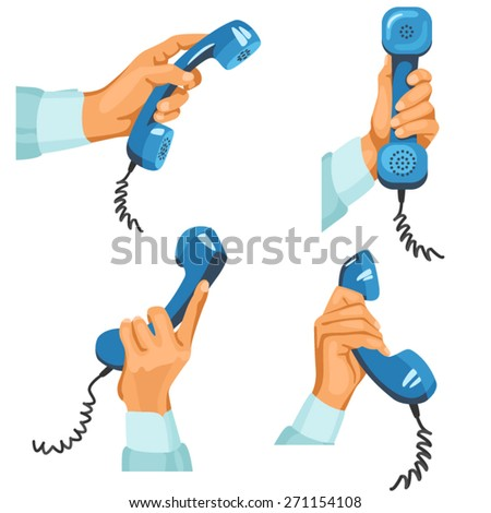 Male hands with telephones in them. Illustration of male hands in different positions with blue telephone tubes in them. Hands are in blue shirt sleeves  - stock vector
