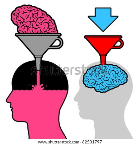 Male head silhouette learning with funnel and brain for knowledge - stock vector