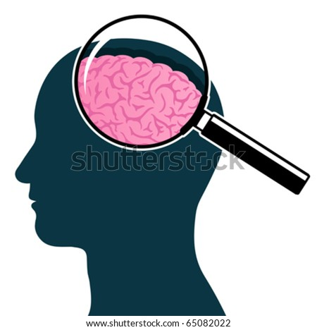 Male head silhouette with magnifying glass and brain - stock vector
