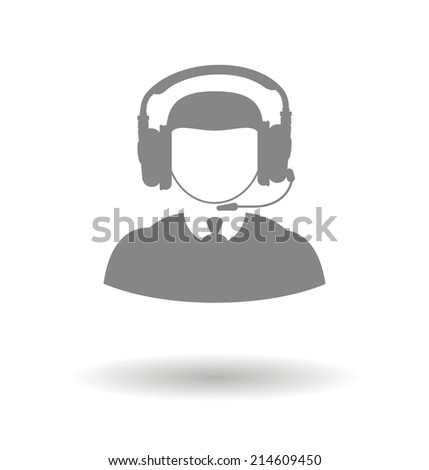 Male icon call center technical support faceless man with a headset on a white background with shadow - stock vector