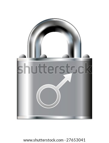Male icon on stainless steel padlock vector button