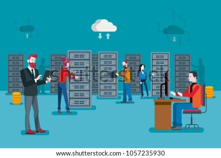Male IT specialist and a team of servers technician in datacenter. Network server room.