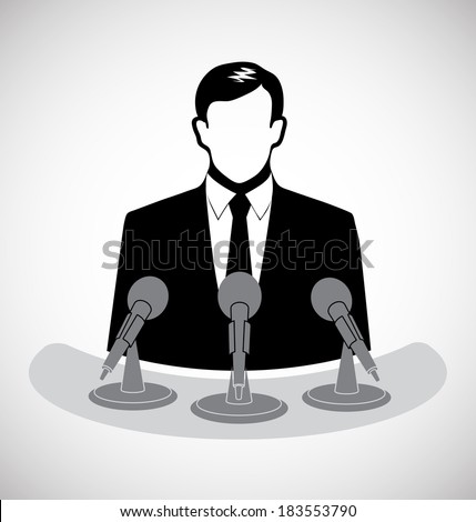 male journalist before a microphone - stock vector