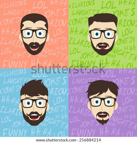 male laughing funny hilarious cartoon character set - stock vector