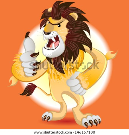 Male Lion Mascot Thumbs Up And Smile - stock vector