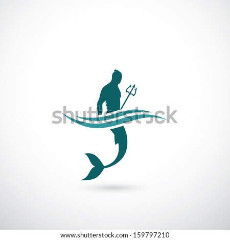 Male mermaid symbol - vector illustration