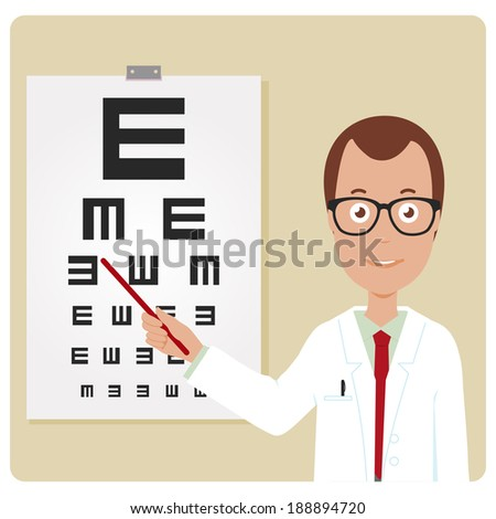 Male ophthalmologist. An ophthalmologist examining a patient using the tumbling e eye chart. - stock vector